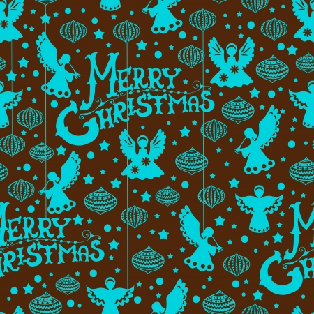Merry Christmas  seamless color pattern with Angels and toys for design Vector