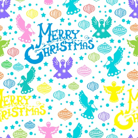 Merry Christmas  seamless color pattern with Angels and toys over white Vector