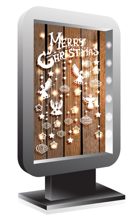 Billboard with Christmas decorations over wood Vector