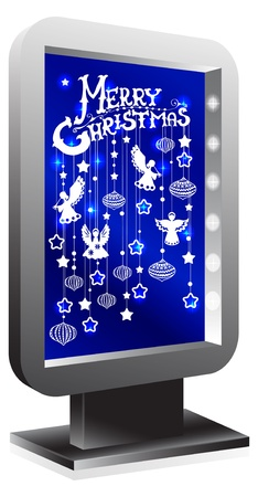 Billboard with Christmas decorations over blue Vector