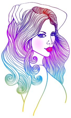 fashion beautiful woman with long wavy color hair, illustration