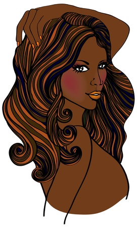 brown hair: Beautiful african american fashion woman on white background  illustration  Illustration