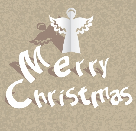 Paper cut Merry Christmas background with angel Vector