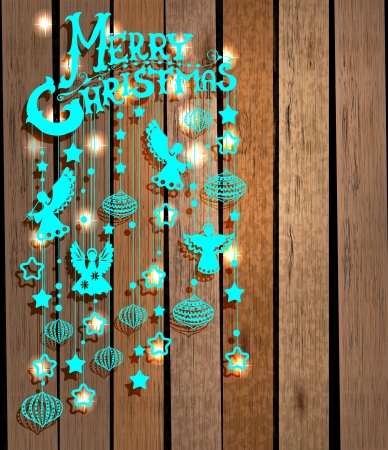 Merry Christmas card with Angels over wood background Vector