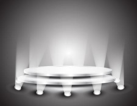 3d Empty white podium with light for design