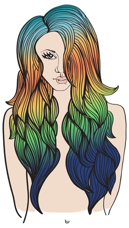 fashion beautiful woman with long wavy color hair, illustration Stock Vector - 16003085