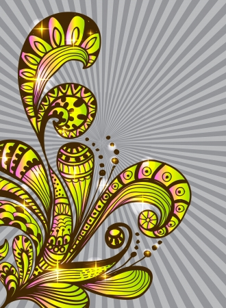 Doodle color floral background, illustration for your design Stock Vector - 16083273