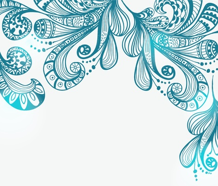 Romantic blue floral background, illustration for Valentine design Illustration