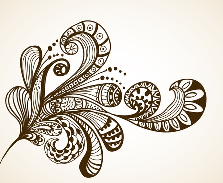 retro fashion: Romantic hand drawn floral background, illustration design Illustration