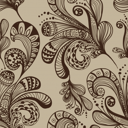 Seamless abstract floral background, handdrawn illustration for design
