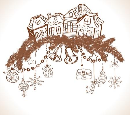 fur tree: cartolina di Natale per la progettazione di Natale con pelliccia alberi, case e decorazioni, illustrazione
