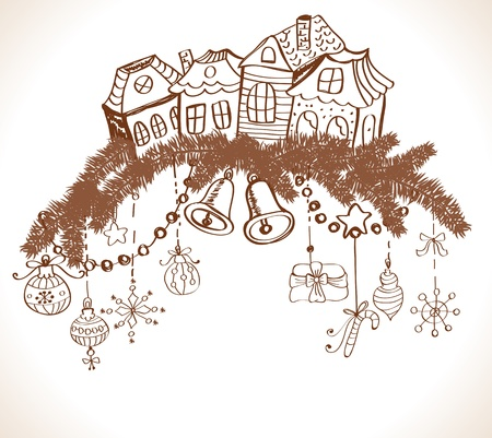hand bell: christmas card for xmas design with fur tree, houses and decorations, illustration