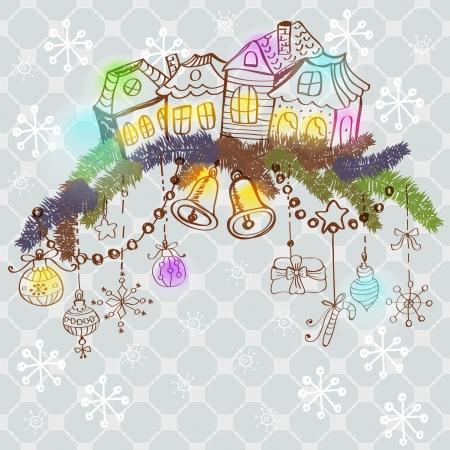 fur tree: Natale carta di colore per la progettazione di Natale con pelliccia alberi, case e decorazioni