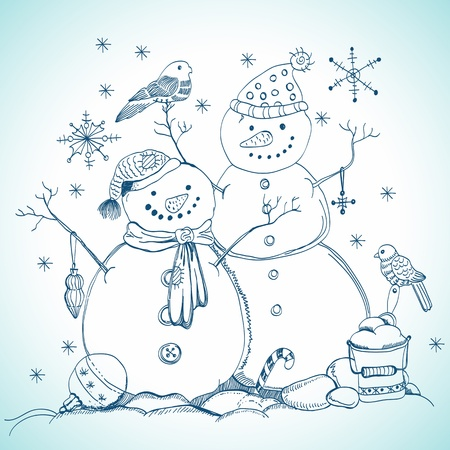 christmas card for xmas design with balls, bird and hand drawn snowmen Vector