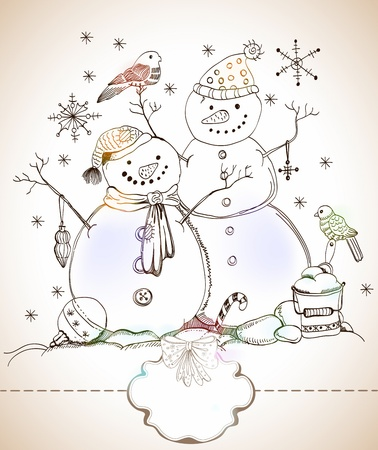 christmas card for xmas design with balls, bird and hand drawn snowmen and label for text Stock Vector - 16083285
