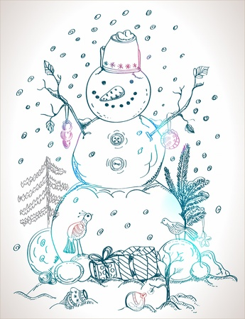 christmas card for xmas design with balls, bird, gift and hand drawn snowman Vector