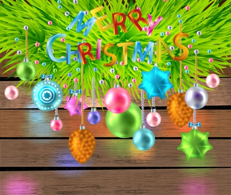 firtree: Merry Christmas  color card with toys and firtree