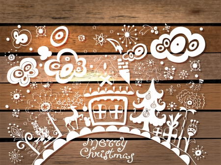 Christmas hand drawn background in origami style over wood Stock Photo - 16083299