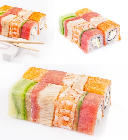 sushi roll collection with royal shrimp, bacon, cucumber and salmon  photo