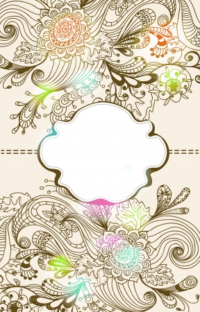 Romantic hand drawn floral background with label, illustration design Vector