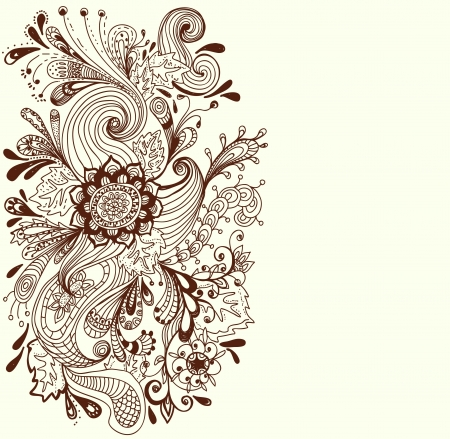 Romantic hand drawn floral background, illustration design Vector