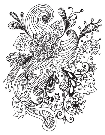 line drawing: Romantic hand drawn floral ornament, illustration design Illustration