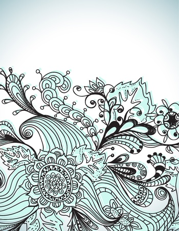 hand drawn frame: Romantic hand drawn floral background, illustration design Illustration