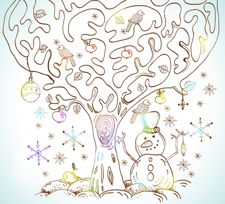 Cartoon tree with birds and snow, card for Christmas or New Year design Vector