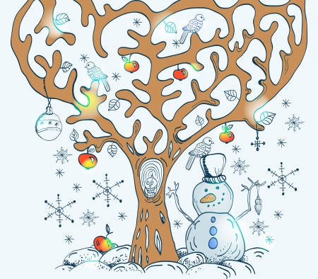 christmas owl: Cartoon tree with birds and snow, card for Christmas or New Year design