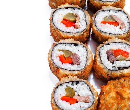 hot fan sushi roll with tune, sweet pepper and cucumber