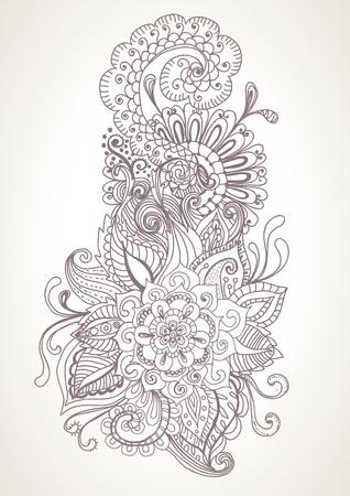 crecimiento planta: dibujados a mano de fondo floral, ilustraci�n