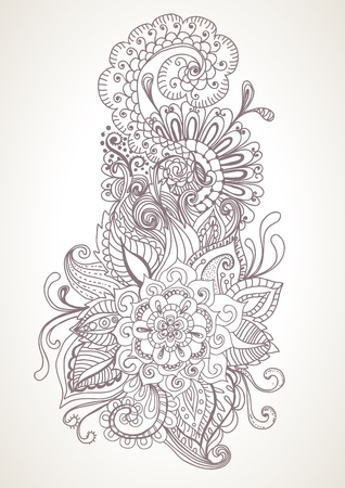 hand drawn floral background, illustration Vector