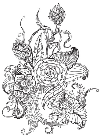 doodle art: Romantic black and white hand drawn floral ornament for holiday design Illustration
