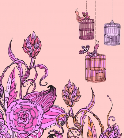 Romantic hand drawn floral card wirh bird and cage, illustration for holiday design Vector