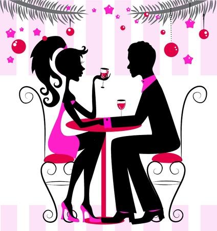 dinner date: Silhouette della coppia, romantico Capodanno o la cena di Natale, illustrazione