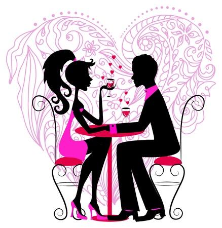 dinner date: Silhouette della coppia romantica sul cuore floreale per biglietto di S. Valentino di design