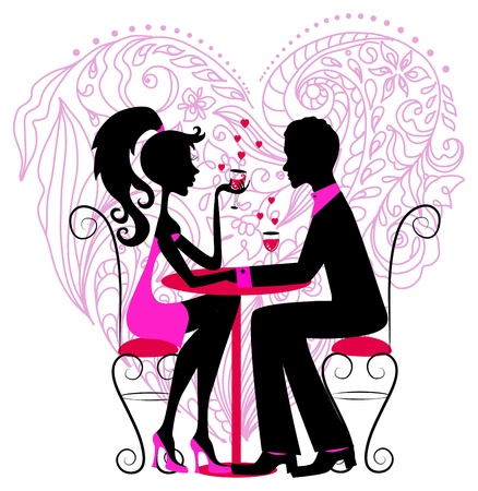romantic date: Silhouette of the romantic couple over floral heart for Valentine design