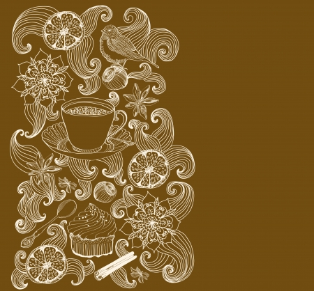spice cake: doodle background for tea time and place for text Illustration