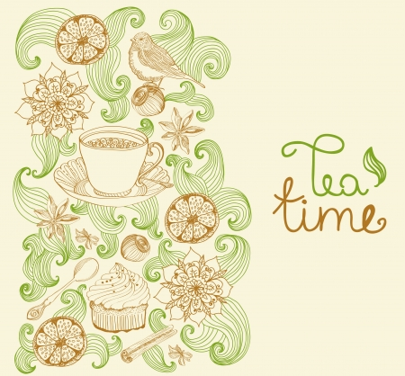 doodle background for tea time and place for text Vector