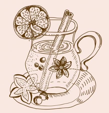 mulled warm wine background, illustration Vector