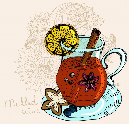 mulled warm wine background, illustration Vector