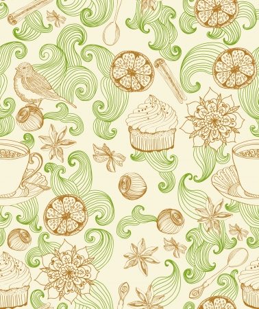 Seamless doodle background for tea time, illustration for design Vector