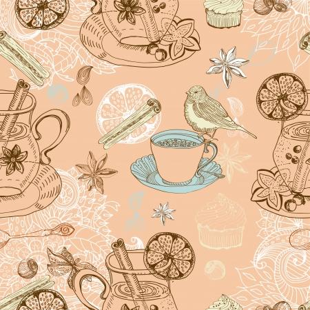 Nahtlose doodle Hintergrund mit Glühwein Glühwein, Tee-Tasse, Vogel Vektorgrafik