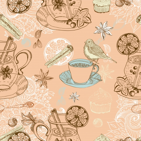 Seamless doodle background with mulled warm wine, tea cup, bird Vector
