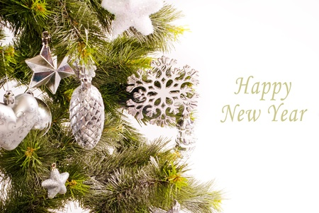 New year card with beautiful decorations on fur tree and place for text photo