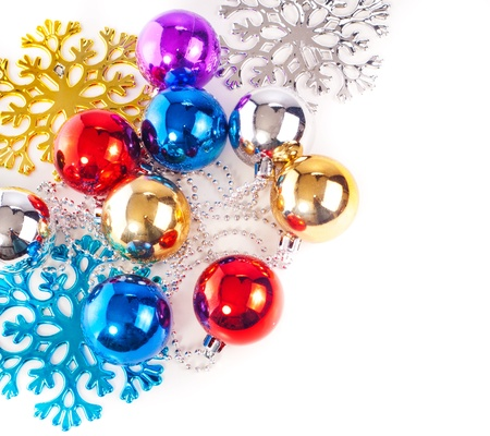 New year background with colorful decoration balls and snowflakes Stock Photo - 16478582