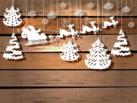 papa noel en trineo: Tarjeta del Año Nuevo para el diseño de fiesta con Papá Noel en trineo