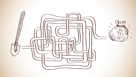 labyrinth with money Vector