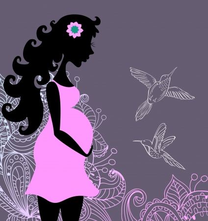 pregnant mom: Silhouette of pregnant woman in flowers for design