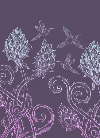 prickle: Beautiful floral prickle background with birds for holiday design Illustration